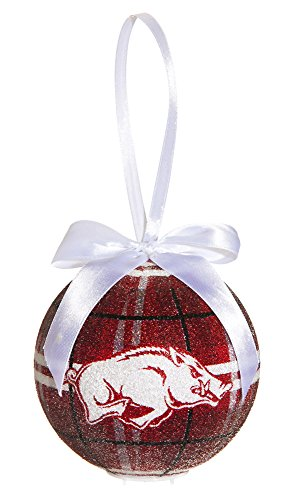University Of Arkansas Light Up Led Sparkle Plaid Christmas Ornament