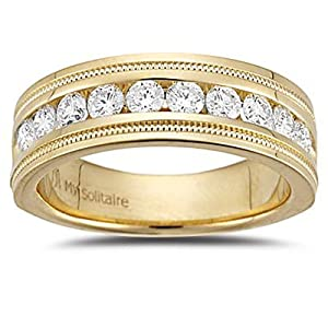 3/4 (0.71-0.80) Cts VS2 Round Diamond Milgrain Tapered Wedding Band in 18K Yellow Gold-7.0