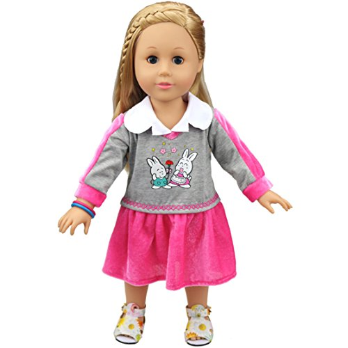 [HappyBB Baby Doll Clothes Skirt Fits 16 inches American Girl Doll School Uniform Skirt (Red)] (2pc Child Cheerleader Costumes)