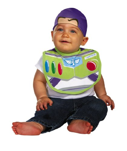 Disguise Baby's Disney Pixar Toy Story and Beyond Buzz Infant Bib and Hat, White/Green/Red, 0-6 Months - 1