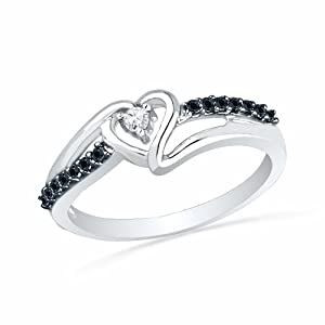 Platinum Plated Sterling Silver Round Diamond Black And White Heart Promise Ring (1/10 cttw)