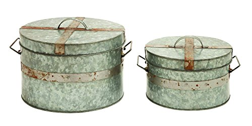 Benzara Traditional Metal Galvanized Round Box, Set Of 2 front-912976