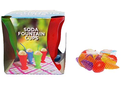 20 Pc Bundle Soda Fountain Plastic Cups 4 Pc Set Ice Cream Cups Bowls Glasses Fountain-ware 16 Pc Reusable Fruit or Bowl Shaped (VARIES) Plastic Ice Cubes (Fountain Drink Cup Dispenser compare prices)