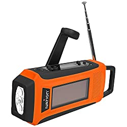 Ivation Rainproof Emergency Digital Solar & Hand Crank AM/FM/NOAA WB Radio, Emergency Smart/Cell phone Charger, Bright 3 LED Flashlight - Compact Survival NOAA Alerts, and Cell phone charging - 3 Recharging options, Hand crank Dynamo Power Generator, Built-in Solar Panel, or USB Power Connection (Cables Included), Never need to replace batteries