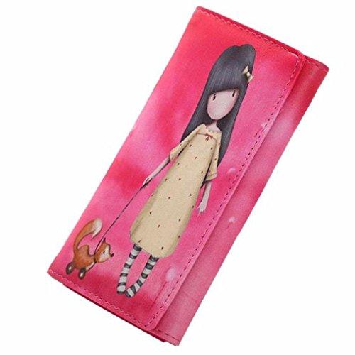 Koly Portefeuille En Cuir PU Pour Femme Femmes Cartoon Graffiti LORI Fille Longue Porte-Monnaie Sac à Main (19cm(L)×8cm(H)×2.5cm(W), Rouge)