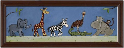 "Doodlefish Framed 40""x16"" Wall Art, Safari Parade"