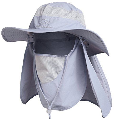 DdyoutdoorTM 07-281 Fashion Summer Outdoor Sun Protection Fishing Cap Neck Face Flap Hat Wide Brim (Gray) (Uv Protection Hat compare prices)