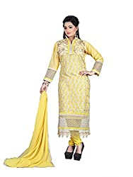 Hi Fi Deal Yellow Color Net Emroidered Dress Material with Dupatta set
