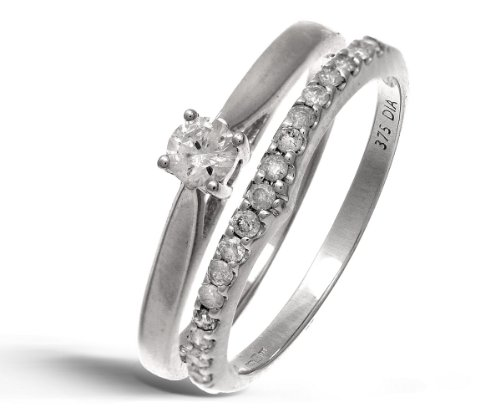 9ct White Gold 0.33ct Diamond Bridal Set Wishbone Ring - Size N