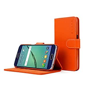 Snugg™ Galaxy S5 Case - Leather Flip Case with Lifetime Guarantee (Orange) for Galaxy S5