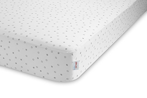 GUND Babygund Starry Night Deluxe 300 Thread Count Crib Sheet, Starry Night - Golly Grey, 28'' By 52''