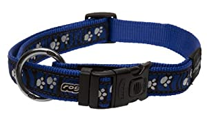 Rogz Fancy Dress Extra Large 1-Inch Armed Response Dog Collar, Zebra Paws on Blue Design