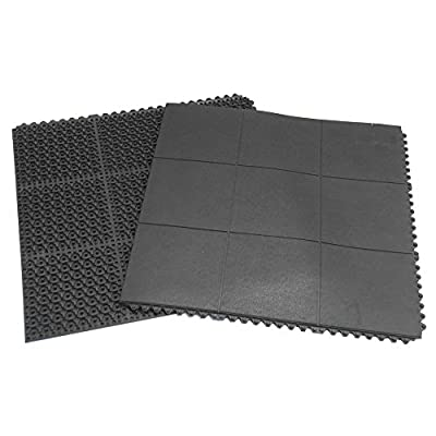 "Rubber-Cal ""Revolution"" Interlocking Rubber Floor - 5/8 x 36 x 36-inch Rubber Tiles - Black"