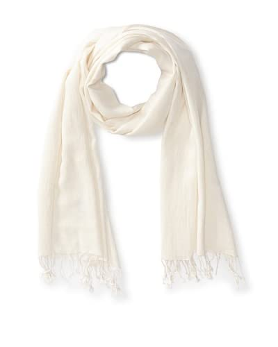 Saachi Women's Cashmere/Silk Blend Scarf, Ivory As You See
