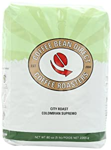 Coffee Bean Direct City Roast Colombian Supremo, Whole Bean Coffee, 5-Pound Bag