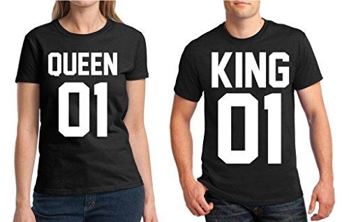 Awkwardstyles Matching Couple Shirts King 01 & Queen 01 Tshirt Valentines Day B Men Medium / Ladies Small