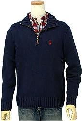 Ralph Lauren Polo Men Halfzip Mock-neck Pullover Cotton Sweater XLT Navy