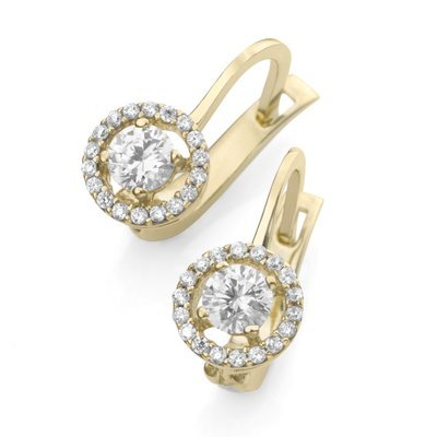 'Clip Earrings Gold 375/Cubic Zirconia - Gold