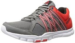 Reebok Men\'s Yourflex Train 8.0 L MT Training Shoe, Medium Grey/Motor Red/Black/White, 10 M US