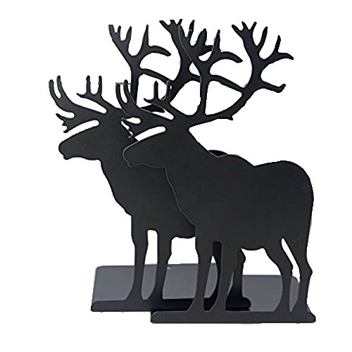 Fashion Creative Cartoon Cute Iron Elk Moose Pattern Nonskid Metal Office Desk Bookends (Black)
