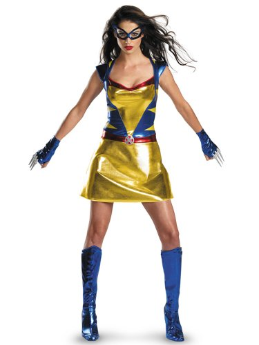 X-Men Movie Costume Sexy Womens Wolverine Costume Gold Blue Dress