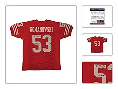 "Bill Romanowski Signed Autograph Jersey -Red San Francisco 49ers Custom Jersey PSA/DNA COA certified ""2X Super Bowl Champs"""