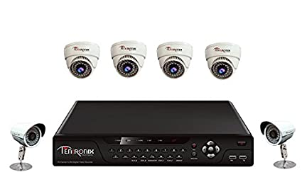 Tentronix T-8CH-5-D4B19 8Channel DVR + 4 Dome + 1 Bullet CCTV Cameras