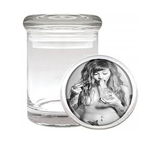 Medical Glass Stash Jar Marijuana Girls S4 Air Tight Lid 3