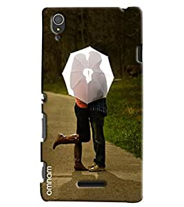 Omnam Girl And Boy Loving Each Other Behind Umbrella Printed Designer Back Cover Case For Sony Xperia T3