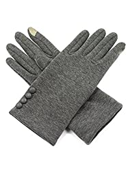 Dahlia Women's Touchscreen Gloves - Four Button Accent - Gray