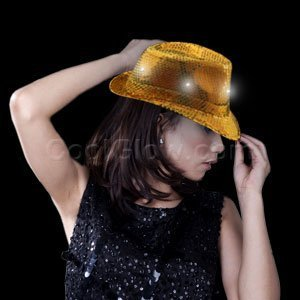 Fun Central O747 LED Light Up Sequin Fedora - Gold
