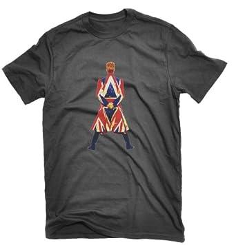 David Bowie Earthling T-shirt Union Jack (Medium, Black)