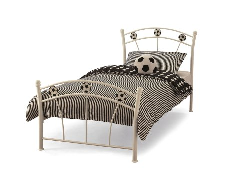Soccer Gloss Metal Bed Frame | Small Single 2FT6 (75cm) | Single 3FT (90cm) (White Gloss, Single 3FT (90cm))