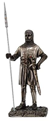 """Crusader Knight Statue Silver Finishing Cold Cast Resin Statue 7"""" (8715)"""
