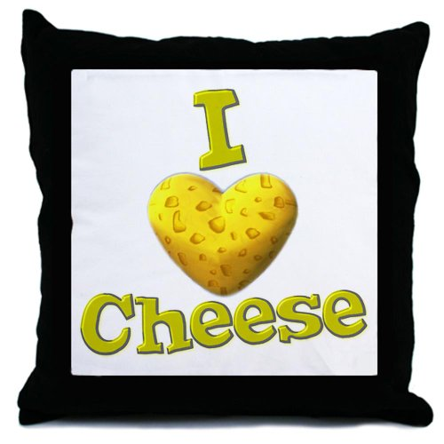 CafePress - funny cute i heart love cheese cheesey heart Throw - Throw Pillow, Decorative Accent Pillow (Cheese It Pillow compare prices)