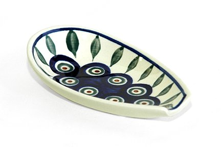 Polish Pottery Spoon Rest Peacock