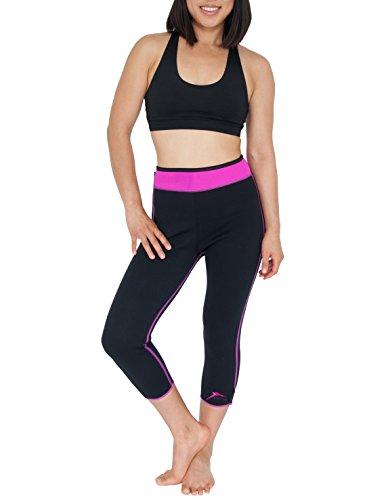 Pantaloni midi (capri) in neoprene, Black/Pink, taglia M