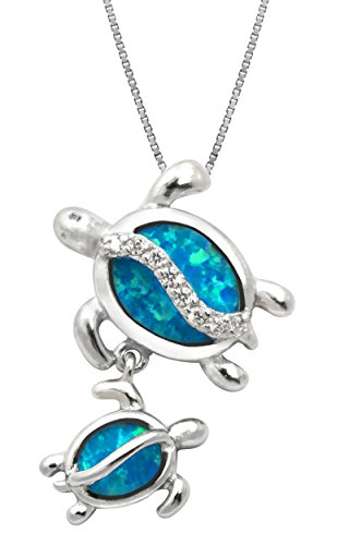 "Sterling Silver Mom and Baby Turtle CZ Necklace Pendant with Synthetic Blue Opal and 18"" Box Chain"