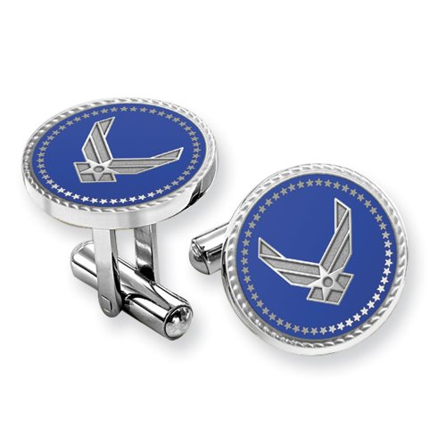 Air Force Rhodium Finish Cuff Links