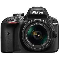 Nikon D3400 24.2 MP Digital SLR Camera (Black) with AF-P DX NIKKOR 18-55mm f/3.5-5.6G VR Lens Kit with 8GB  Card and Camera Bag