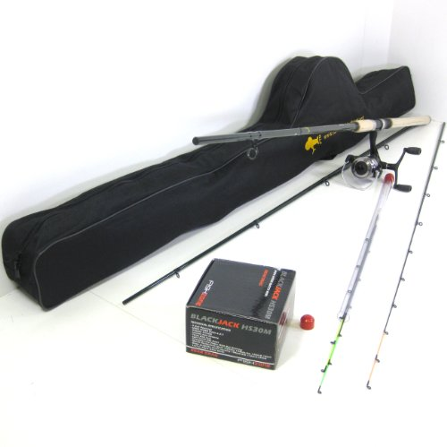 FTD 3.3m 11ft Feeder Fishing Rod and Reel Combo - Full Carbon Rod  &  FISHZONE BlackJack HS30m 9 Ball Bearing Reel Set with Shoulder Carry Bag - Capable of Float Fishing!