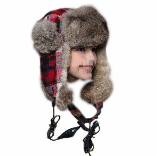 Cute Imitation Rabbit Fur Plaid Style Women Lady Winter Earflap Beanie Cap Hat With Headset Headphone Earphone 3.5Mm