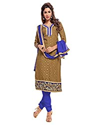 Inddus Exclusive Women Brown/Blue Unstiched Embroidered Regular Dress Material