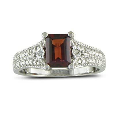 Sterling Silver Garnet and Diamond Ring (1 1/2 cttw): Right Hand Rings: Jewelry