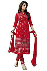 Govardhan Fashion Red colour cottan Unstitched Dress Material