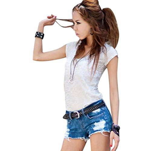 Donne Jeans vita bassa Hot pants elastici pantaloncini Denim ( Blu EU M )