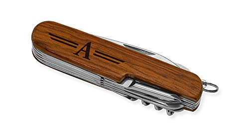 Dimension 9 Initial A or Monogram A 9-Function Multi-Purpose Tool Knife, Rosewood