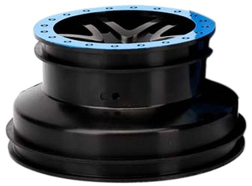 Traxxas 5884A Wheels Short Course, Split-Spoke Black with Blue Bead locks, Slash, 2-Piece