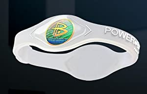 Power Balance Wristband Silicone Bracelet Clear W/White Letters Size: Large