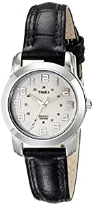 TIMEX Women's T2N4359J Silver-Tone Watch with Black Leather Band